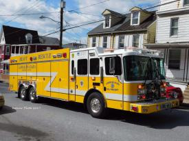 Rescue 59 at the Steelton Fire. Photo credit D.f. Apparatus Photos