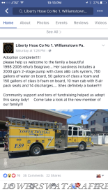 Liberty Hose Company #1 of Williamstown's Facebook post. Yes, they are excited!